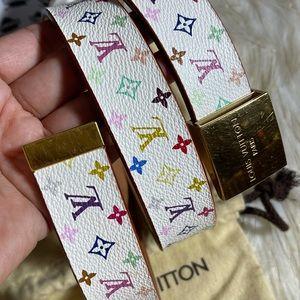 Louis Vuitton Multicolor CANVAS LEATHER BELT 80/32
